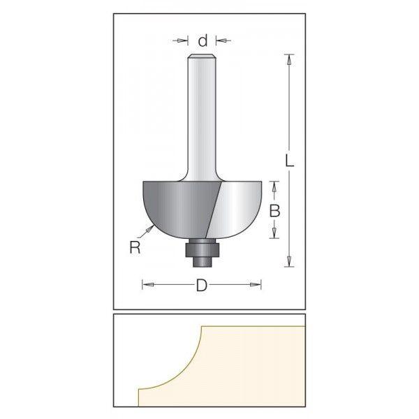 Dimar polokruhová fréza 22,2 mm