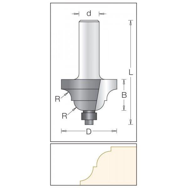 Dimar profilová fréza 34,9 mm s rádiusem 6,3 mm