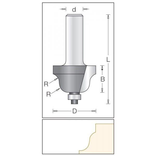 Dimar polokruhová fréza 25,4 mm
