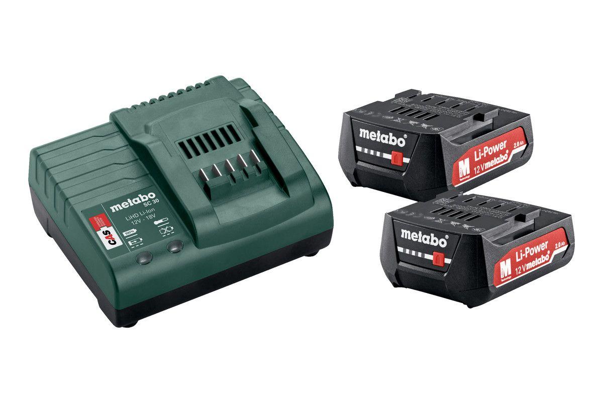 Metabo Basic-Set 12V 2x2,0 Ah baterie + nabíječka SC30 + kufr