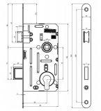 Dveřní zámek pro pokojové dveře rozkres kót