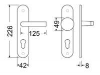 Dveřní kování Sabrina F4 bronz klika/klika záchodová 90mm kóty