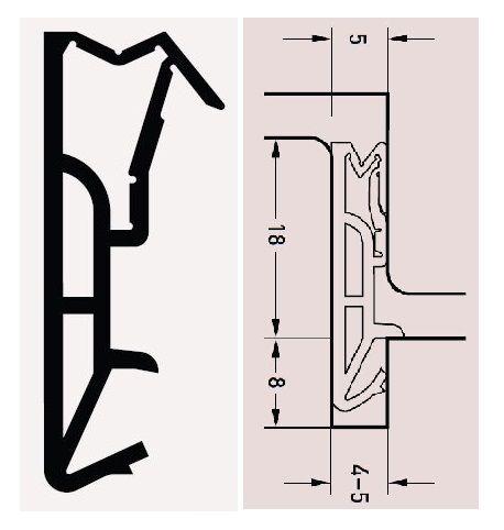 DEVENTER SV185 béžové dveřní těsnění 18mm